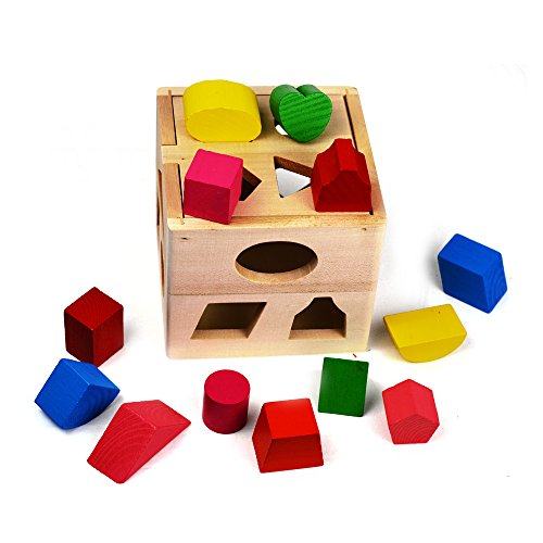 Wooden Shape Sorting Cube Classic Square Shape Sorter Baby First Blocks Shape-Sorting Toy for Early Learning for 3 Year Olds by NimNik