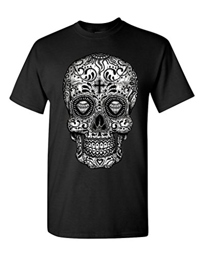 Shop4Ever® Sugar Skull black & white T-shirt Day of Dead Shirts
