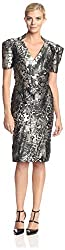 Zac Posen Women's Printed Fluted Hem Dress, Noir Multi, 8 US