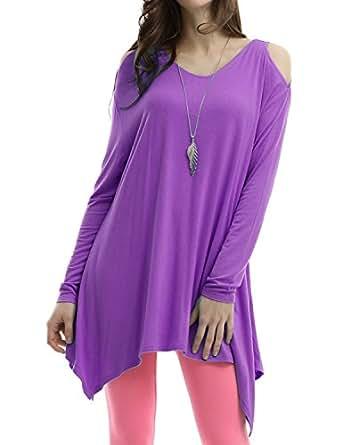 Doublju Womens Short Sleeve sin stores Purple Running Long T-shirts,S