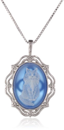 """Sterling Silver Blue Agate Cat Cameo Pendant Necklace, 18"""""""