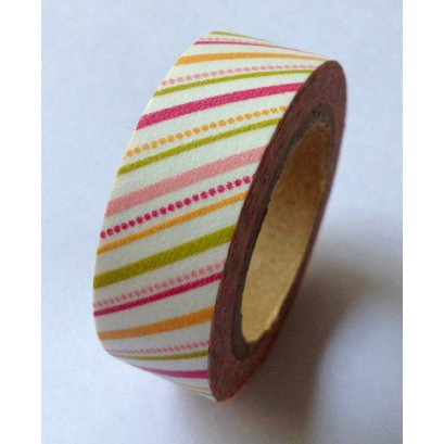 Washi Tape 15mmX10m-Warm Pink Diagonal Stripes and Dots 4 rolls per package