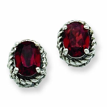 Sterling Silver 2.10Garnet Earrings