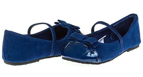Chatties Toddler Girls Velvet Ballet Flats Size 11/12 - Navy (Baby Girl Navy Blue Shoes compare prices)