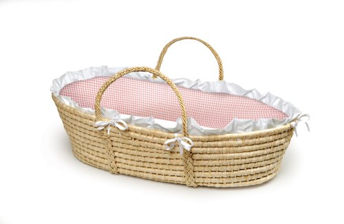 New Badger Basket Company Natural Baby Moses Basket - Pink Gingham Bedding