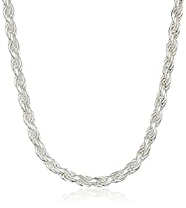 Sterling Silver 060-Gauge Diamond-Cut Rope Chain Necklace, 16""