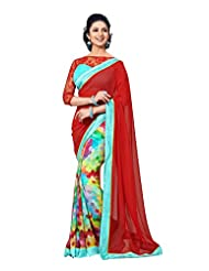 Multi Color Faux Georgette Party Wear Saree