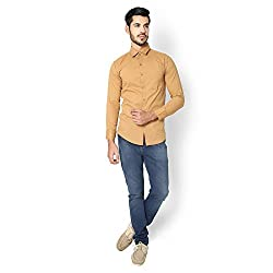 STRAK Mens' Pure Cotton Beige Dotted Designer Apple Cut Style Shirt With Full Sleeve Size:-L/42