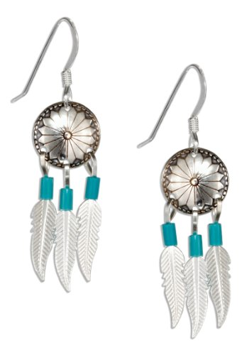 Sterling Silver Concho Earrings with Feathers and Turquoise Heishi on French Wires