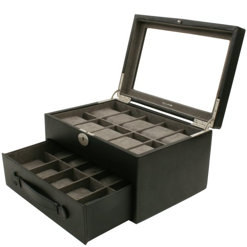 Watch Box Storage Case Leather For 20 Watches With Lucite Window by Tech Swiss