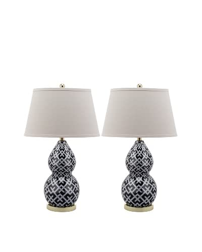 Safavieh Set of 2 Cross-Hatch Double Gourd Lamps, Black/Gold