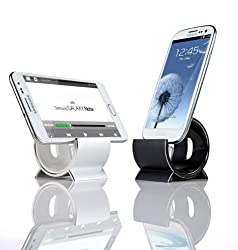 Sinjimoru Aluminum Sync and Charging Dock Stand for Samsung Galaxy Note 3, Note 2 S5, S4, S3, S2, i9100, LG G2, G3, Nexus, Sony Xperia, HTC One M8 (Android MicroUSB 5Pin Cable Included) (Silver)