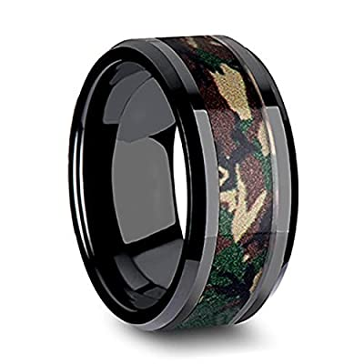 Last Two Days Promotion! King Will 8mm Tungsten Ring Black Camo Hunting Camouflage Polished Beveled Edge Outdoor Engagement Band