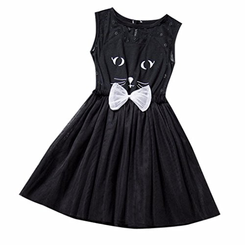 Towallmark Girls Net Yarn Cat Sleeveless Princess Mini Dress (Cat Steamer compare prices)