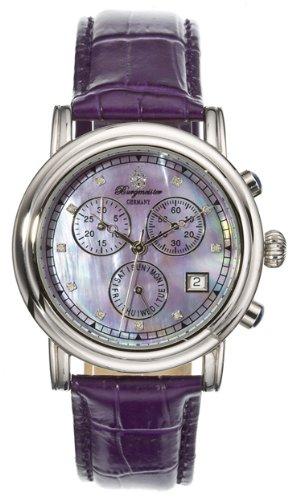 Burgmeister Chronos Bm124-190B Ladies Chronograph Automatic Analogue Wristwatch Pink Leather Strap Diamonds Day Date