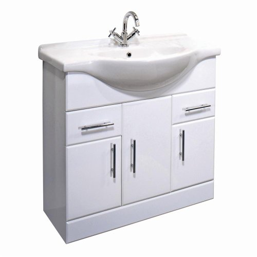 Beautiful Arcadia mm White Gloss Bathroom Vanity Unit u Basin