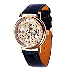 buy Vantasy Men'S Elegant Deluxe Gold Plated Stainless Steel Hand Wind Skeleton Analog Mechanical Leather Watch