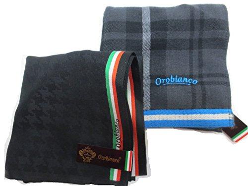 [オロビアンコ] Orobianco 紳士 メンズ ハンカチ  タオル ハンカチ 2枚 セット ロゴ 刺繍 専用 箱入り 日本製