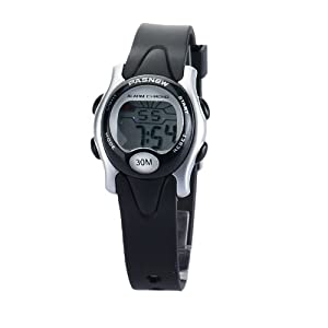 Pasnew Cute Digital Sport Waterproof Wrist Watch with Alarm Stopwatch for Kids Boys Girls (Black)pse-243b