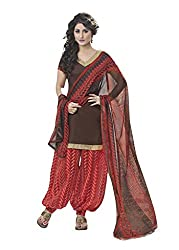 Suchi Fashion Brown & Red Printed Cotton Dress Material