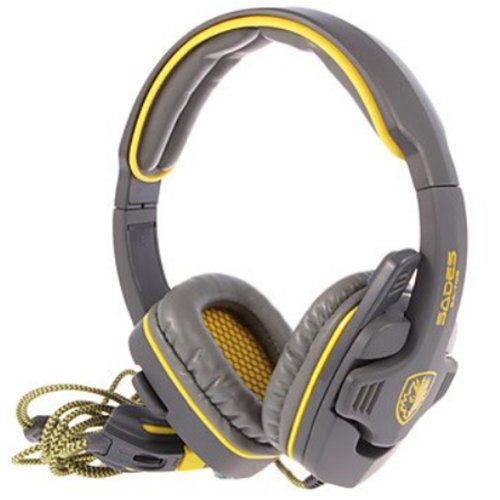 Sades Sa-708 Stereo Headset Gaming Game Headphone Earphones With Microphone & Remoter (Yellow)