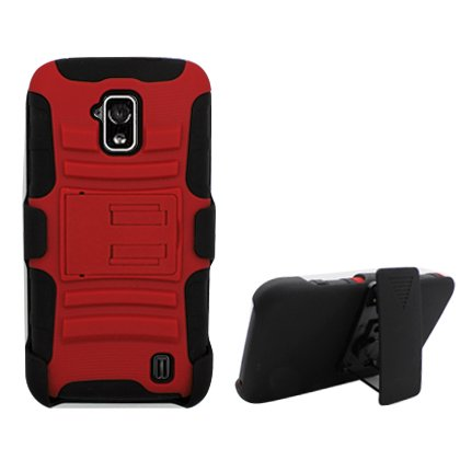 Cell Accessories For Less (Tm) For Zte Solar Z795G Red Armor, W/ Black Skin Belt Clip & Black Stand + Bundle (Stylus & Micro Cleaning Cloth) - By Thetargetbuys