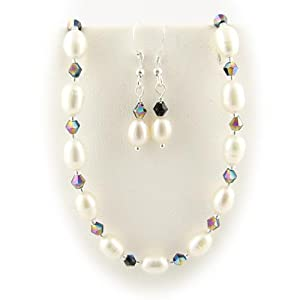 Black Bicone Beads White Freshwater Rice Pearl Necklace 16 - 18 Inches Earrings
