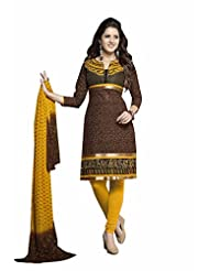 AASRI Women Party Wear Cotton Embroidered 3 Piece Unstitched Salwar Suit 5177