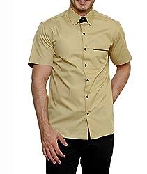 Dazzio Men's Slim Fit Cotton Casual Shirt (DZSH0912_Lemon_38)
