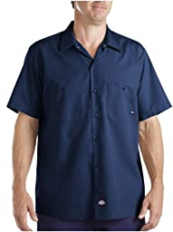 Dickies Occupational Workwear LS535NV 4XL Polyester/ Cotton Men\'s Short Sleeve Industrial Work Shirt, 4X-Large, Navy Blue