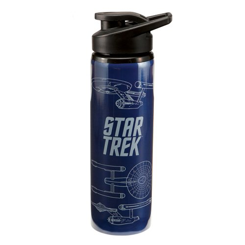 Vandor 80110 Star Trek Enterprise 24-Ounce Stainless Steel Water Bottle, Navy/White
