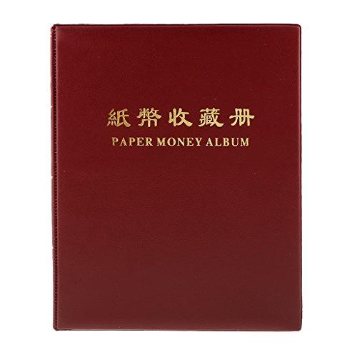 Rouge 20 Pages Album Collection De Billets De Banque En Monnaie De Papier-monnaie Livre Noir #C