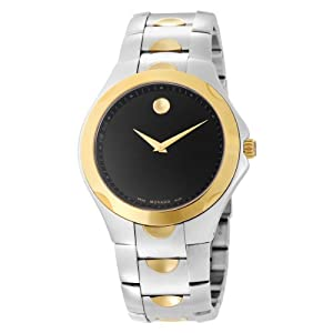 Movado Women's 606381 Luno Sport Two-Tone Black Round Dial Bracelet Watch by Movado