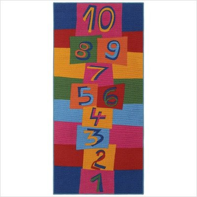 Children's Play Hopscotch Multi Kids Rectangular Rug