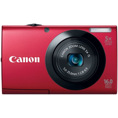 Canon 6186B005 PowerShot A3400 IS 16.0 MP Digital Camera with 5x Optical Image Stabilized Zoom 28mm Wide-Angle Lens with 720p HD Video Recording (Red)