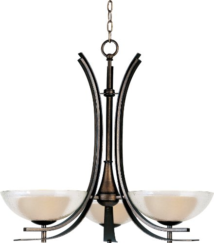Maxim Lighting 11524TCAD Duo 3-Light Chandelier, Auburn Dusk with Textured Clear Glass
