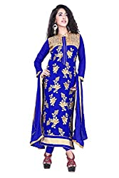 styllaz creation blue cotton chanderi embrodaired dress material