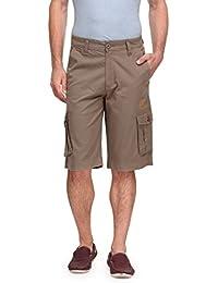Wear Your Mind Beige Cotton Printed Cargo Three-Fourths For Men WSR007.2