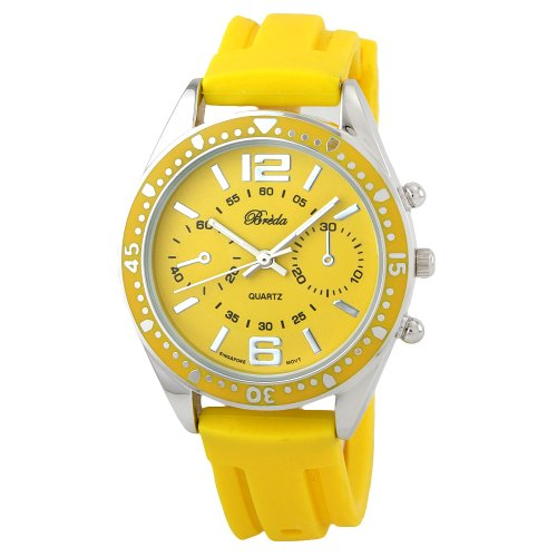 "Breda Women's 8125_yel ""McKenna"" Sport Jelly Yellow Silicone Watch"
