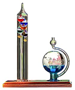 AcuRite 00795 Galileo Thermometer with Glass Globe Barometer