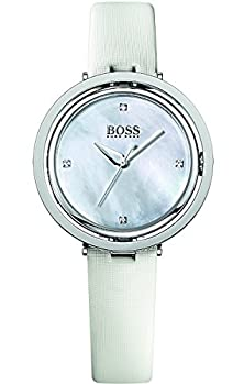 buy Hugo Boss Illusion Mother Of Pearl Dial White Leather Ladies Watch 1502354