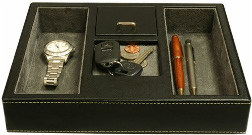 Valet Tray Leather, Desk or Dresser Organizer by Tech Swiss