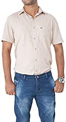 Passion Men's Regular Fit Casual Shirt (FS5009SGYHS, Gray, Small)