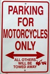 Parking for Motorcycles Only Tin Sign