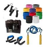 Body Maxx Combo4Maxx Pack Of Push Ups Bars + Skipping Skipping Rope Rope + Wrist + Wrist Bands Wrist Bands + Hand Bands + Hand Grippers + Hand Grippers + Gym
