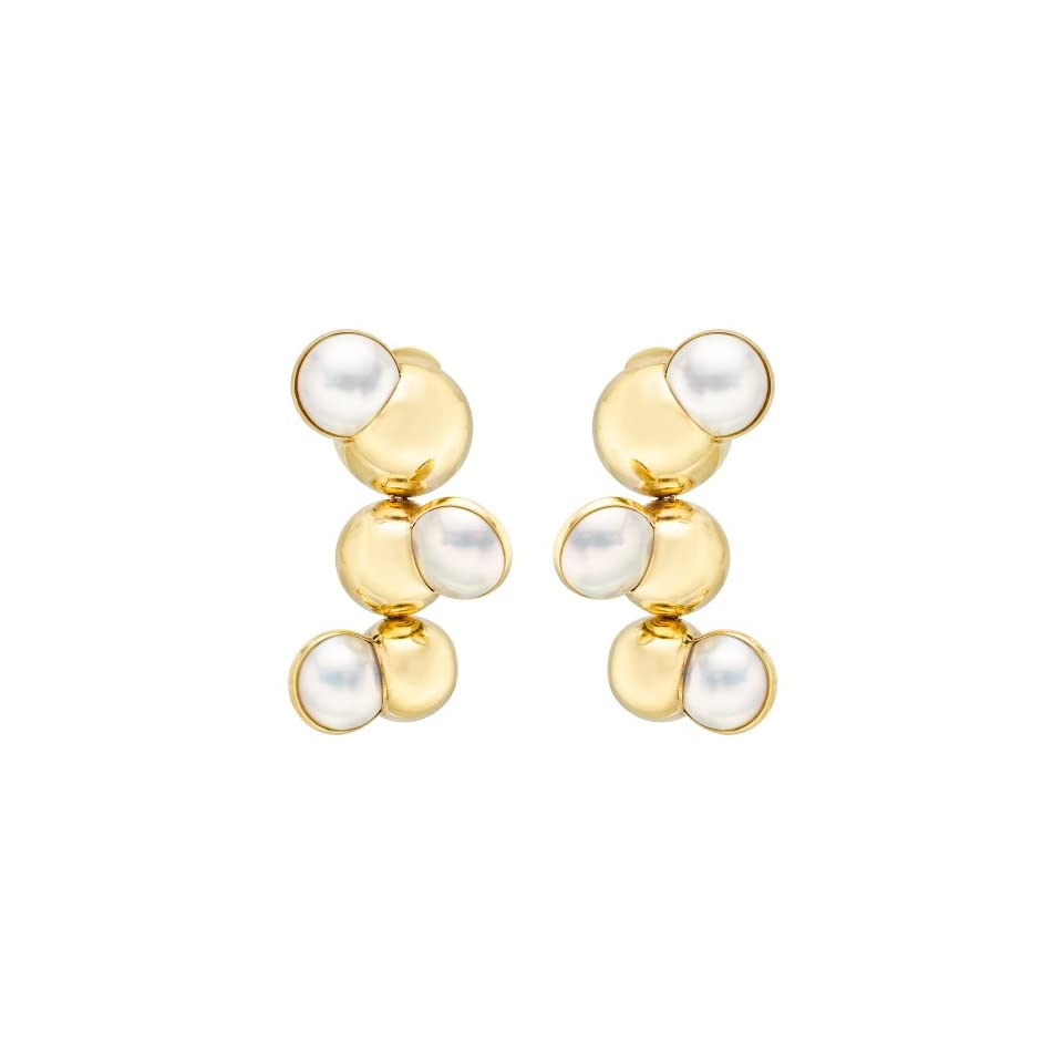 Peggy Stephaich Guinness 18k Gold & Mabe Pearl Satellite Earrings on