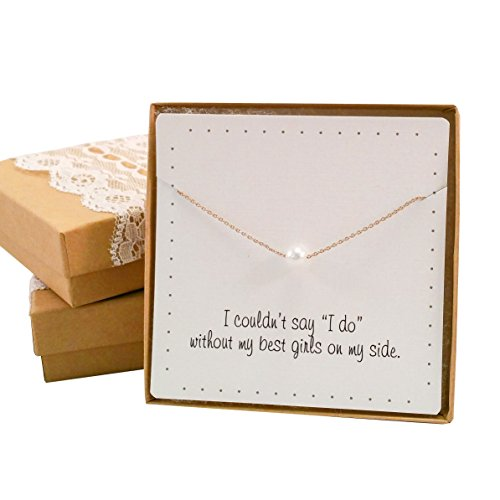 Bridesmaid Gifts- Pretty Single Floating Bridal Pearl Necklace, Gold Color, Set of 2