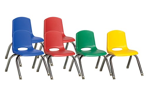 """Ecr4Kids School Stack Chair With Chrome Legs/Nylon Swivel Glides (6-Pack), 10"""", Assorted Colors front-973906"""
