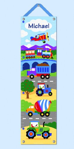 Trains, Planes And Trucks Personalized Canvas Growth Chart By Olive Kids front-908520