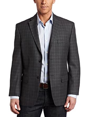 Haggar Men's 2 Button Textured Herringbone Center Vent Sport Coat, Gray, 44 L